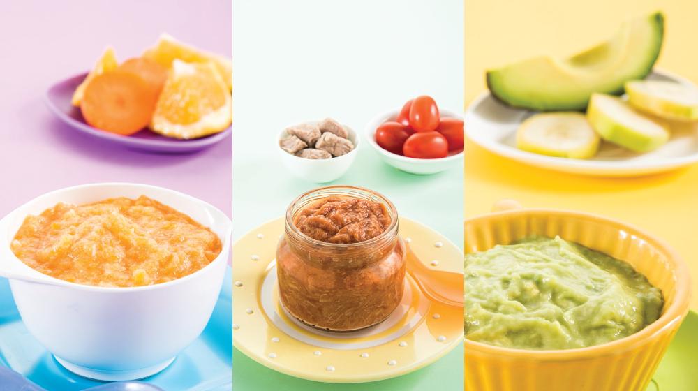 Papillas de frutas y verduras para bebé