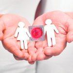 Muñecos de papel con preservativo en las palmas de una persona