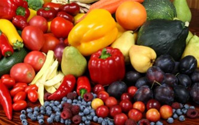 Muchas frutas y verduras juntas