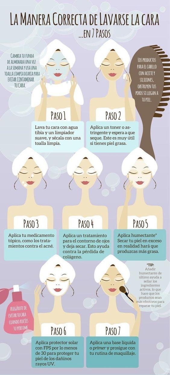 Infografía de cómo limpiar correctamente la piel