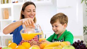 jugo de naranja en niños